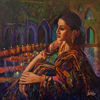 Alika Wall Art - Painting - Deep Contemplation by Alika Kumar