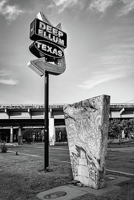 Photograph - Deep Ellum Texas Neon - Dallas Cityscape Monochrome by Gregory Ballos