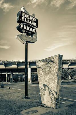 Photograph - Deep Ellum Texas Neon - Dallas Cityscape Sepia by Gregory Ballos