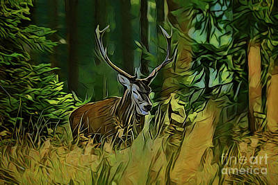 Painting - Deer A18-9 by Ray Shrewsberry
