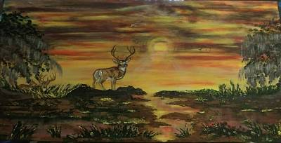Train Photography - Deer At Sunset by Diane Russo