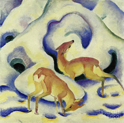 Painting - Deer In The Snow, 1911 by Franz Marc