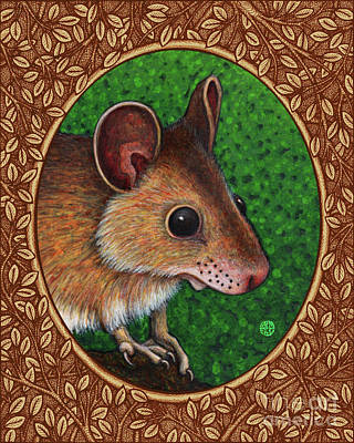 Painting - Deer Mouse Portrait - Brown Border by Amy E Fraser
