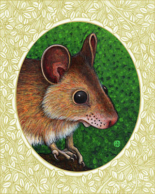 Painting - Deer Mouse Portrait - Cream Border by Amy E Fraser