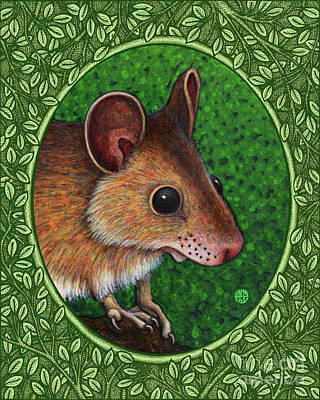 Painting - Deer Mouse Portrait - Green Border by Amy E Fraser