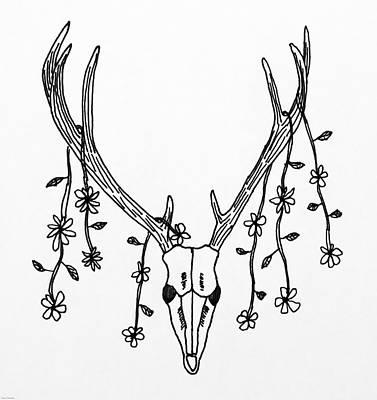 Animals Drawings - Deer Skull by Aaron Geraud