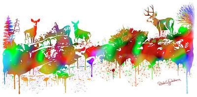Digital Art - Deer Skyline Drip Panel by Dale E Jackson