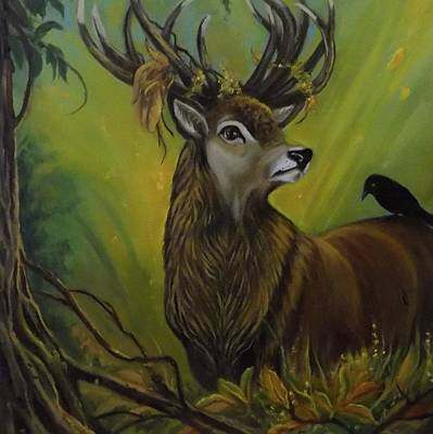 Deer Stag And The Crow Art Print by Janet Silkoff