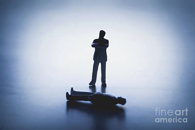Photograph - Defeated Man And A Man Figure Standing Behind Him by Michal Bednarek