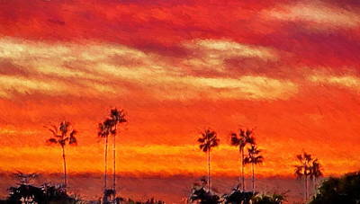 Comedian Drawings - Del Mar Sunset by Russ Harris