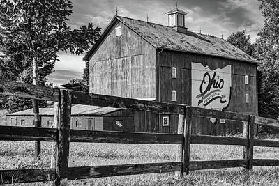 Photograph - Delaware County Bicentennial Barn - Ohio - Black And White by Gregory Ballos