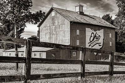 Photograph - Delaware County Bicentennial Barn - Ohio - Sepia by Gregory Ballos