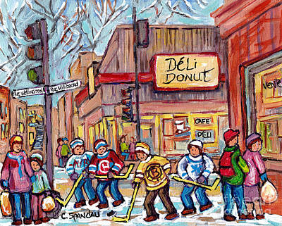 Painting - Deli Donuts Wellington And Willibrord Verdn Montreal Hockey Art Winter Scene Painting C Spandau Art  by Carole Spandau