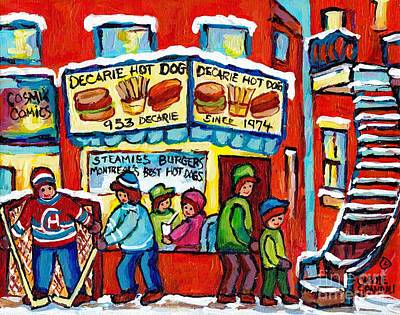 Painting - Delicious Decarie Hot Dog Ville St Laurent Famous Fast Food Eatery C Spandau Montreal Hockey Art     by Carole Spandau