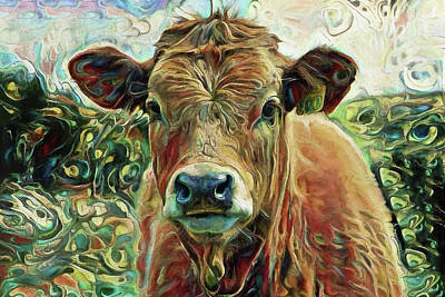 Digital Art - Delilah The Calf by Peggy Collins