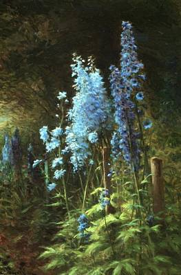 Joseph Farquharson Wall Art - Painting - Delphiniums In A Wooded Landscape by Farquharson Joseph