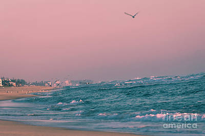 Delray Beach Pink Sunset Atlantic Ocean Waves 4168 Florida Original