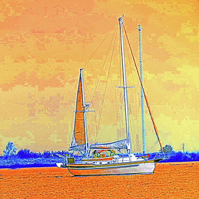 Digital Art - Delta Sails - Orange Sky by Joseph Coulombe