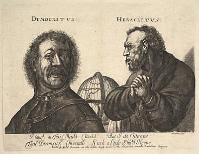 Drawing - Democritus And Heraclitus by Richard Gaywood