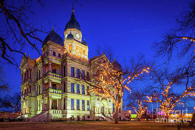 Royalty-Free and Rights-Managed Images - Denton Courthouse at Night by Inge Johnsson