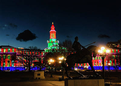 Photograph - Denver Civic Center Lights 2019 by Marilyn Hunt