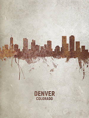 Denver Skyline Wall Art - Digital Art - Denver Colorado Rust Skyline by Michael Tompsett
