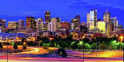 Royalty-Free and Rights-Managed Images - Denver Colorado Skyline in Vivid Color Panorama by Gregory Ballos