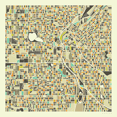 Denver City Wall Art - Digital Art - Denver Map 1 by Jazzberry Blue