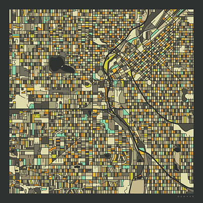 Denver City Wall Art - Digital Art - Denver Map 2 by Jazzberry Blue