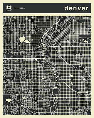 Denver City Wall Art - Digital Art - Denver Map 3 by Jazzberry Blue