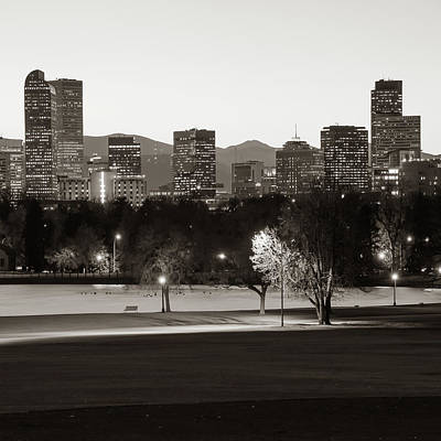 Photograph - Denver Rocky Mountain Skyline - Classic Sepia by Gregory Ballos