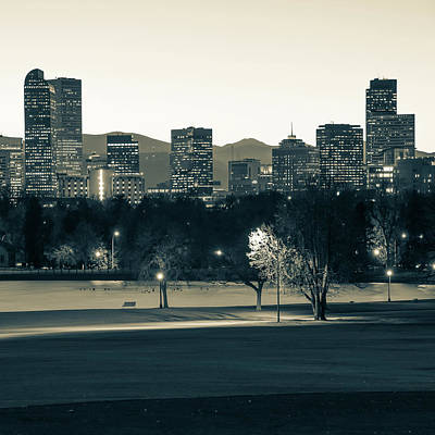 Photograph - Denver Rocky Mountain Skyline - Sepia Monochrome by Gregory Ballos