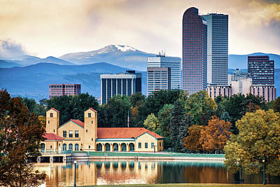 Photograph - Denver Skyline And Rocky Mountains - City Park Autumn Landscape by Gregory Ballos