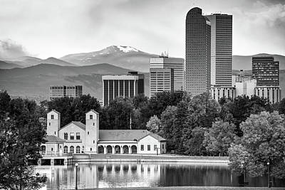 Photograph - Denver Skyline And Rocky Mountains - City Park Landscape - Monochrome by Gregory Ballos