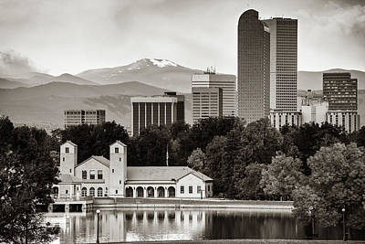 Photograph - Denver Skyline And Rocky Mountains - City Park Landscape - Sepia by Gregory Ballos
