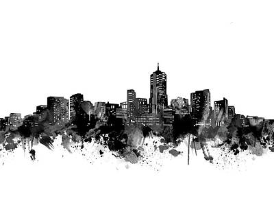 Abstract Skyline Royalty-Free and Rights-Managed Images - Denver Skyline Bw by Bekim M