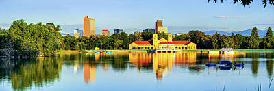 Photograph - Denver Skyline Panoramic Reflections At City Park by Gregory Ballos