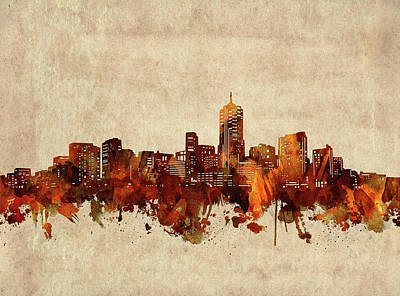 Abstract Skyline Royalty-Free and Rights-Managed Images - Denver Skyline Sepia by Bekim M