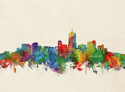 Abstract Skyline Royalty-Free and Rights-Managed Images - Denver Skyline Watercolor by Bekim M