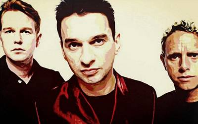 Music Paintings - Depeche Mode Portrait Painting Dipinto Malerei Cadre Marco by Artista Fratta