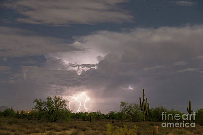 Photograph - Desert Clouds Lightning And Stars by James BO Insogna