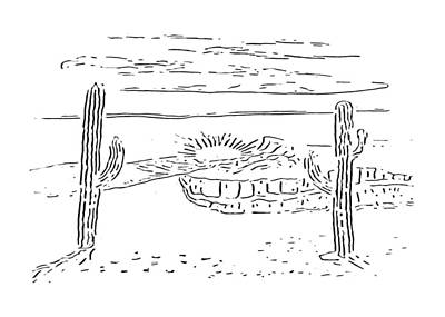 Drawing - Desert Scene At Paint My Sketch Art Group by Delynn Addams