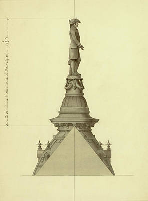 Drawing - Design For City Hall Tower by Thomas Ustick Walter
