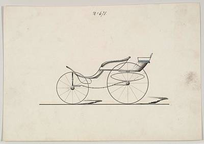 Watercolor Typographic Countries - Design for Pony Phaeton with Rumble, no. 671 ca. 1860 by MotionAge Designs