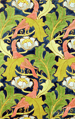 Painting - Design For Printed Linen With Birds And Leaves By Voysey by Charles Francis Annesley Voysey