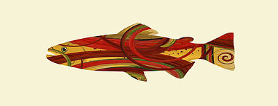 Animals Digital Art - Mystic Trout- Crimson by Whispering Peaks Photography