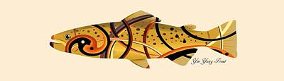 Animals Digital Art - Mystic Trout- Yin and Yang by Whispering Peaks Photography