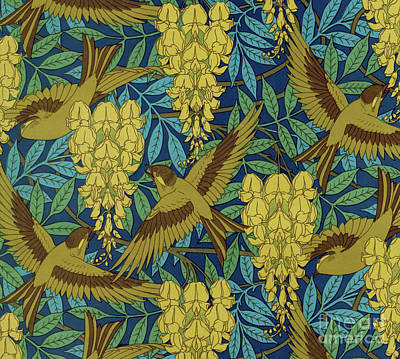 Painting - Designs For Birds And Wisteria Wallpaper by Maurice Pillard Verneuil