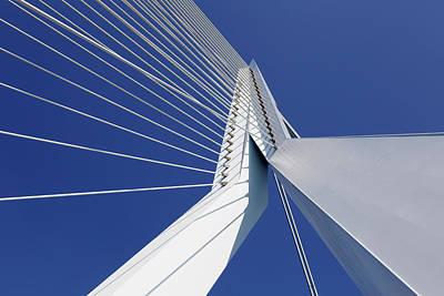 Rotterdam Photograph - Detail Of Erasmusbrug Erasmus Bridge by Allan Baxter
