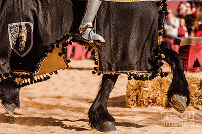 Photograph - Detail Of The Armor Of A Knight Mounted On Horseback During A Display At A Medieval Festival. by Joaquin Corbalan